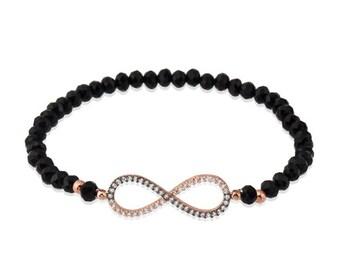 silver infinity beaded bracelet, black cz beaded bracelet