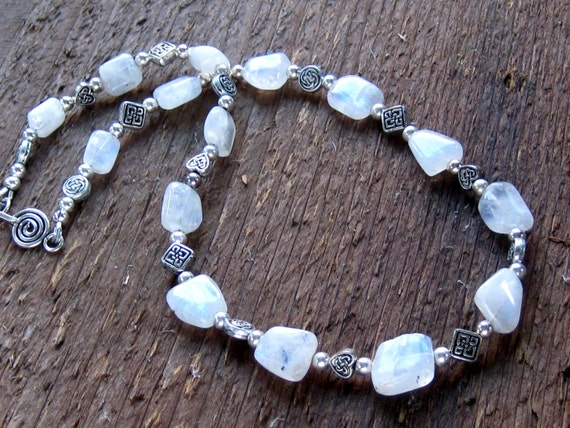 Celtic Rainbow Moonstone Necklace Bohemian Jewelry