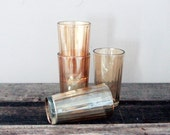Iridescent Golden Yellow Drinking Glasses S/4