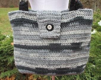Crocheted Lined Gray / Grey /  Black / Bag /  Shoulder Bag /  Purse / Handbag / Pocketbook / Microfiber Handles / Lined