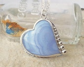 Sterling Silver Blue Lace Agate Heart Pendant Necklace, Bezel Set Gemstone, Silversmithed Love Jewelry, Large Silver and Blue Pendant
