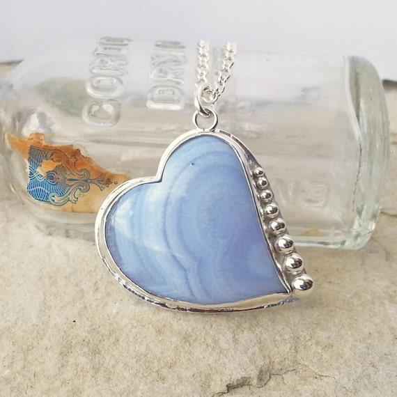 sterling silver blue lace agate pendant necklace bezel