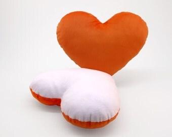 White and Orange Team Spirit Hug Heart Shaped Pillow 12x14 inches