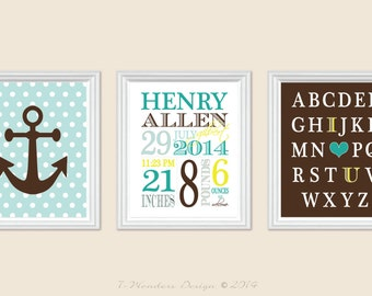 "Baby Birth Stats Boys Personalized Newborn Wall Art, Alphabet, Anchor - Custom Nursery, Brown Teal // Set of 3 - 8"" x 10"" OR 11 x 14"""