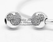 NEW 100% 925 Sterling Silver Mickey Mouse Pavé with Clear CZ Clip Charm Bead  Fits European Style Jewelry Bracelets & Necklaces DS012