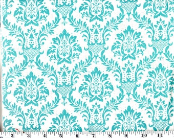 1 Yard, Aqua Damask on White