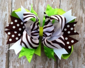 Lime and Brown Boutique Style Hairbow