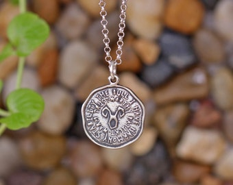 TAURUS Key Word Pendant of Astrology Zodiac Sign, Birthday gifts, Sterling Silver Chain Included.