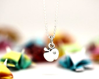 Little Apple charm, sterling silver, kid jewelry (Chain Sold Separately)