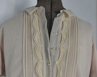 1950s  Nylon Blouse with Lace and Pin Tucks    ...size Large