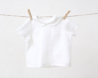 Baby Boy white shirt with Peter Pan collar Linen shirt Baptism Wedding party 1st Birthday outfit Baby Boy clothes Family photo