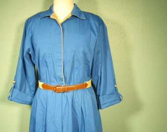 SALE Vintage Blue 3/4 Sleeve Dress M-L