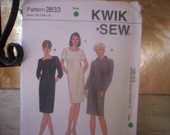Pattern 2833/Kwik sew 2833 patterns/Vintage pattern/Misses pattern/Misses dresses pattern/Kwik sew pattern/Kerstin Martensson/Dress pattern
