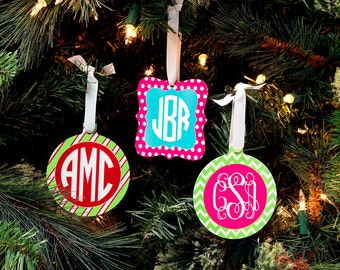 Personalized Custom Monogram Christmas Ornaments - Choice of Pattern, Color & Style