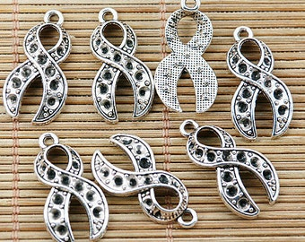 28pcs tibetan silver color ribbon design DIY charms EF1424