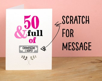50th Birthday Card, 50 and Full of, Rude, Sarcastic, Humorous, 50th Card, Funny 50th Greetings Card