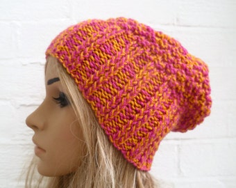 Sale Hand Knitted Hat, Women Slouchy Beanie Knit Hat, Pink Yellow Slouch Hat, Acrylic, Clickclackknits