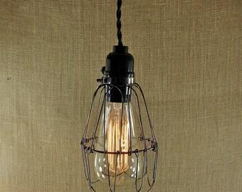 Edison Bulb Cage Lamp - Industrial Vintage Light Fixture  - Edison Industrial Cage Pendant Lamp