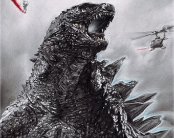 Drawing Print of Godzilla
