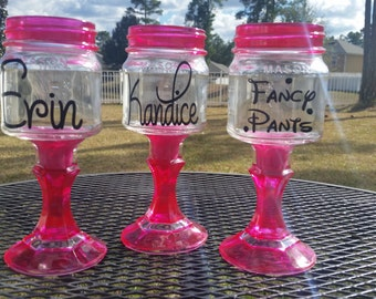 Personalized Mason Jar Wine Glass - Colored Glass - Hot Pink - ONE GLASS - Weddings - Bachelorette Parties- Birthday Party