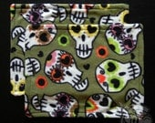 Fleece Rat Hammock: Green Sugar Skulls 11-inch x 14-inch Rectangle