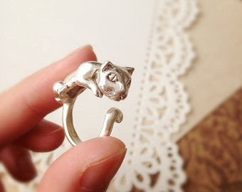 DARKWHISPER Retro Style Exquisite Handmade 925 Silver Vintage Concise Cat Ring Easter Animal Gift