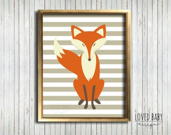 Fox Baby Nursery, Woodland Creatures Nursery, Printable Nursery Art - DIY, Printable