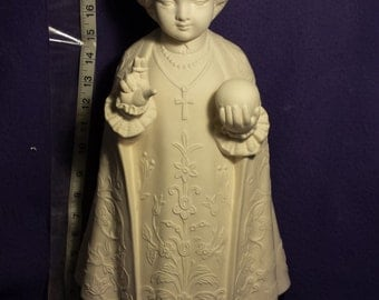 """Rare Vintage White Horse Infant of Prague ready to paint ceramic bisque 22"""""""