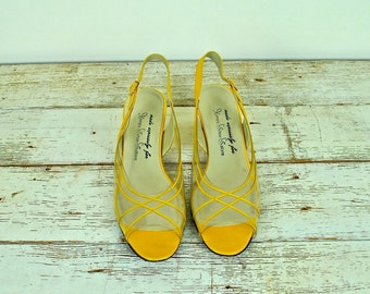 Yellow Leather and Plastic Sandals, Vintage Yellow Sandals