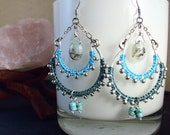SALE// Warrior Goddess Silver Turquoise Teal/ Macrame Chandelier Earrings/ Peruvian Opal /Bohemian Inspired/ Gypsy/ Festival/ Made in NY