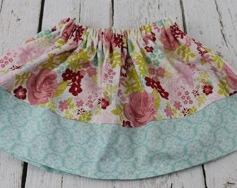 Aqua Floral Baby Girl Skirt  Toddler Girls Skirt 1st Birthday Skirt Baby Girls Twirl Skirt Vacation Skirt Summer Spring Skirt