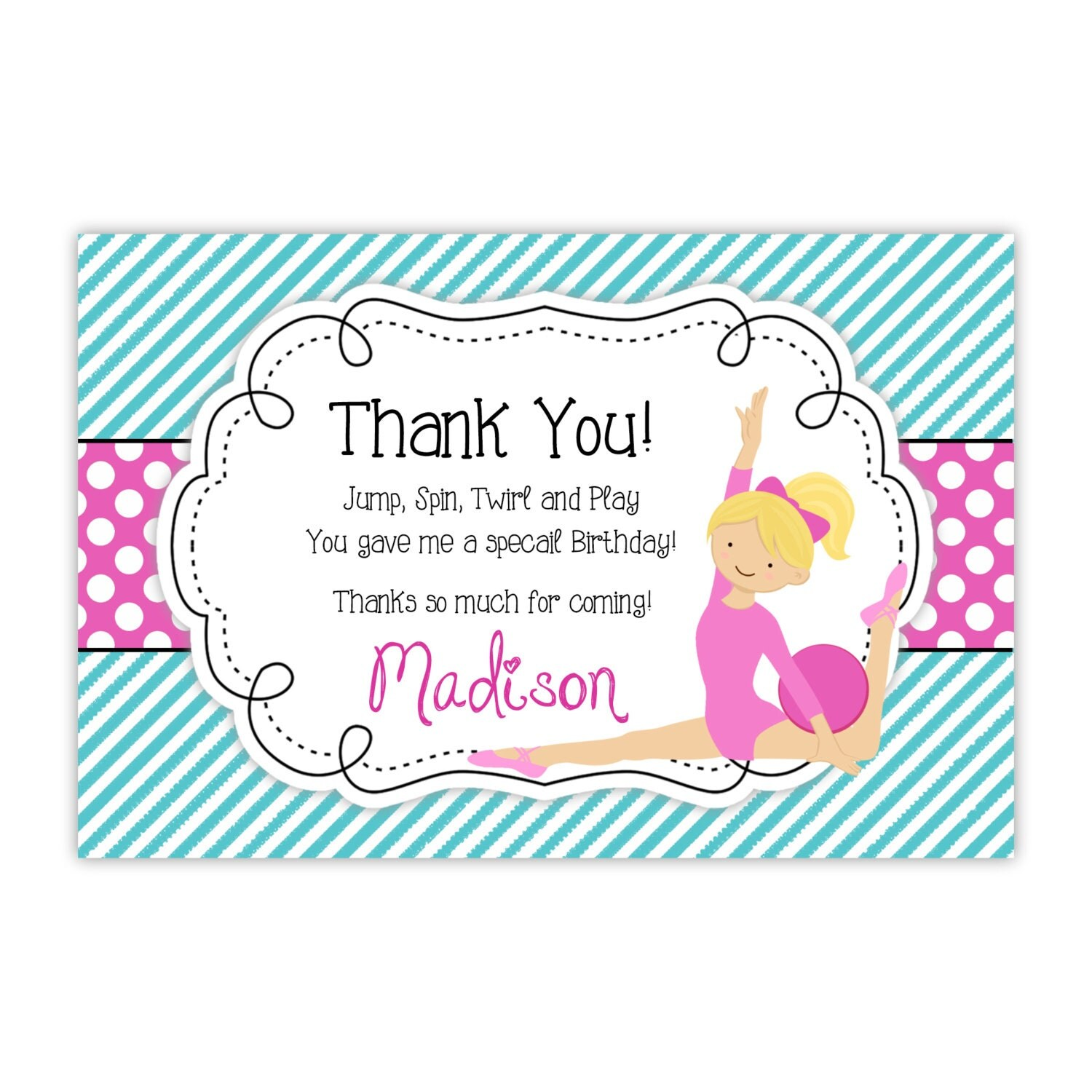 Gymnastics Thank You Card Teal Turquoise Stripes Pink Dots