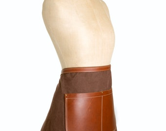 Waxed canvas and leather half apron in Rustic brown & Tan - gardening, barista, bar