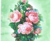 Sympathy Notecard blank, With sincere sympathy,condolences,encouragement, roses comfort sorrow,spiritual,handpainted green, care note card