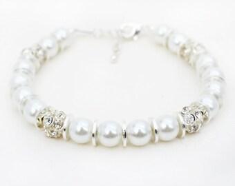 White Pearl Bracelet, Pearl Beaded Bracelet, Pearl Jewelry, Silver Jewelry, Silver Bracelet, Bracelets for Women, Silver Rhinestone Beads