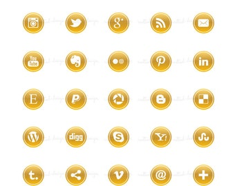 SM8 :. Gold Social Media Icon Buttons / For blog or website