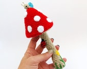 crochet mushroom rattle /  colorful baby toy / shower nursery gift / toddler toy