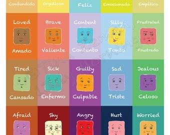 "Small English/Spanish Emotion Poster 13"" x 19"""