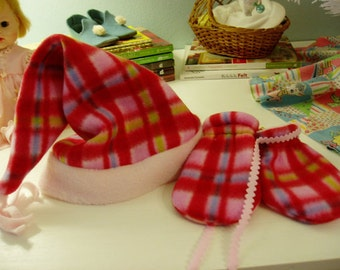Fun Fleece Hat & Mittens for your Little One, Pretty Pink/Red Plaid