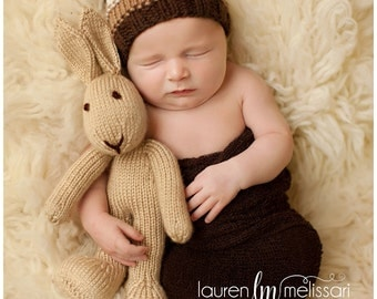 Photo Prop - Stuffed Bunny - Stuffed Animal - Soft Toy - Knitted Bunny - Newborn Photo Prop