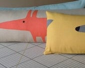 "Mr Fox Draft Excluder Three colours to choose from Yellow Blue Neutral 34"" long by 8"" high"