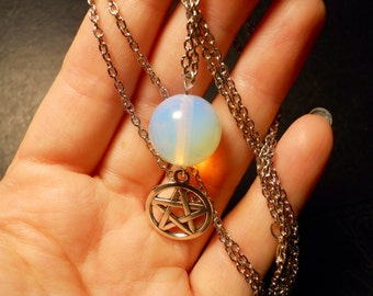 The Opalite Good Witch Pentagram White Magic Talisman Necklace