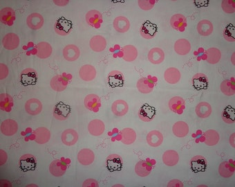 White with Pink Hello Kitty Cotton Fabric by the Yard