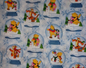 Pooh and Friend Snow Globe Christmas Cotton Fabric by the Half Yard