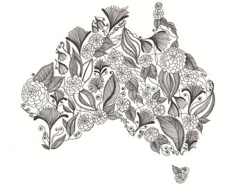 "Australia Patterned Art Print 8""x10"""