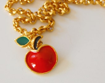 Necklace and apple enamelled pendant  in metal gold tone
