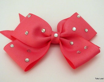 Pink Boutique Hair Bow With Crystals