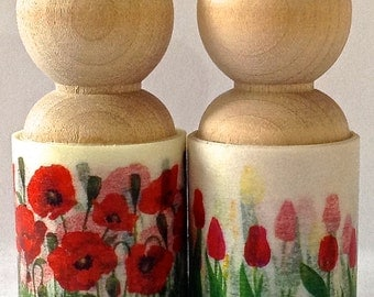 REDUCED Wide Washi Tape Floral Large Peg Single SCARLET BLOOMS in Poppy or Tulips Two Yards each 30 mm