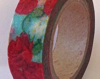 "SALE  Floral Washi Tape  ""Rose Bud""  15mm x 10 meters"