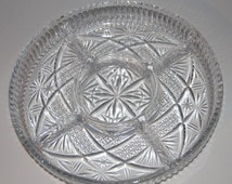 Relish Dish - Clear Pattern Glass/Cut Glass - Vegetable Tray